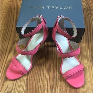 Ann Taylor-RAINA SCALLOPED SUEDE HEELED SANDALS